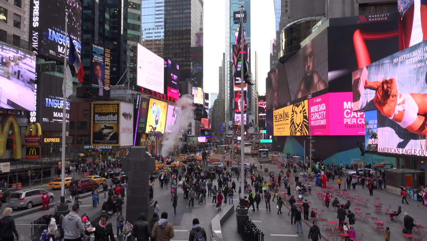 NEW YORK CITY - CIRCA 2015 - Crowded streets in Times Square, New York City