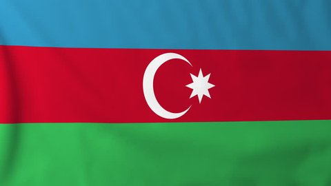 Flag of Azerbaijan, slow motion waving. Rendered using official design and colors. Highly detailed fabric texture. Seamless loop in full 4K resolution. ProRes 422 codec.