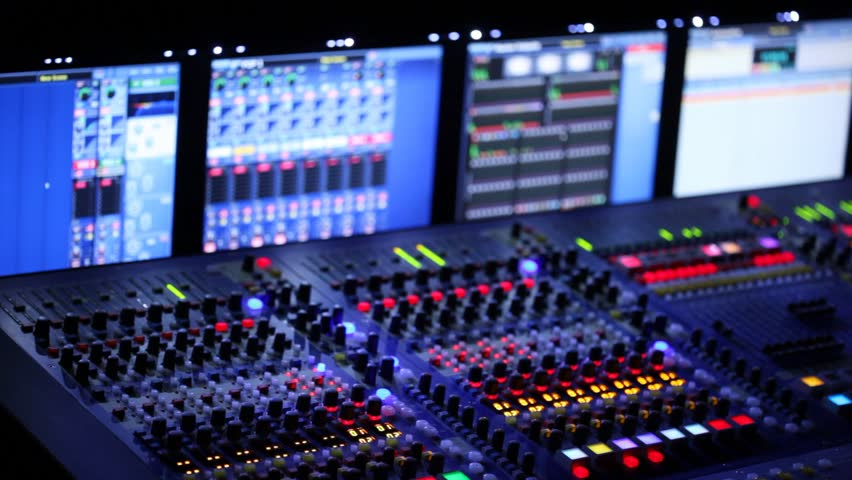 Modern Mixer Panel Is During A Concert In The Dark
