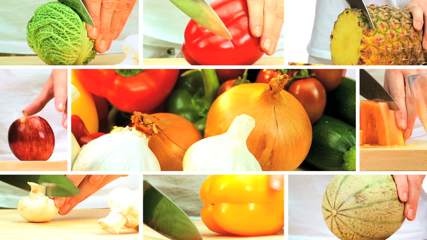 Montage collection of fresh fruit & vegetables being prepared as part of a modern healthy lifestyle eating plan