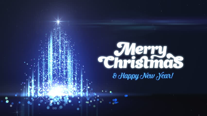 merry christmas and happy new year greeting intro card template christmas tree made of particles creative luxury motion design