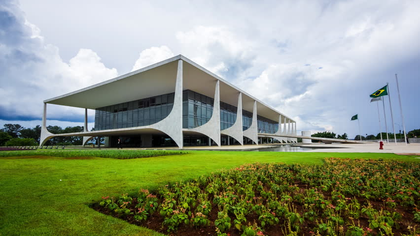 Brasilia, Brazil - Circa November, 2015: Timelapse view of Planalto Palace (Palacio do Planalto), the official workplace of the President of Brazil, located in the national capital of Brasilia.