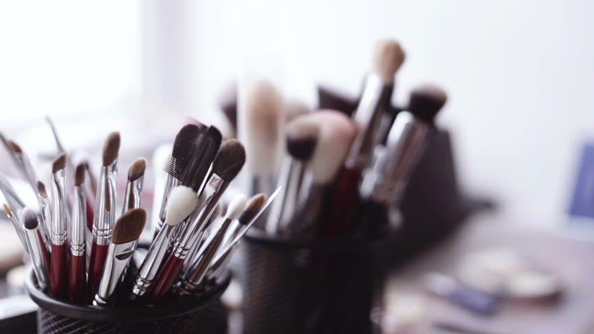 Stock Video Of Brush And Eye Shadow Makeup Tools