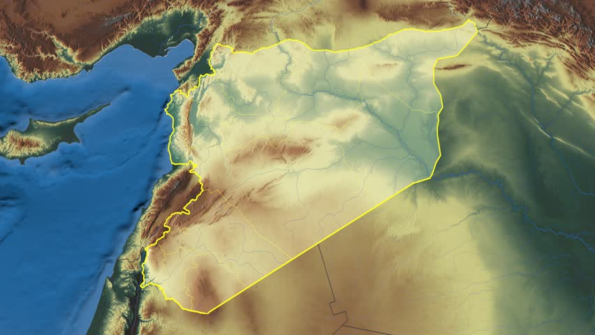 As Suwayda Region Extruded On The Physical Map Of Syria Rivers And