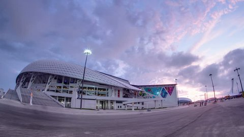 Olympic stadium Fisht timelapse day to night transition in Sochi, Russia for opening and closing ceremonies of Winter Olympic Games 2014