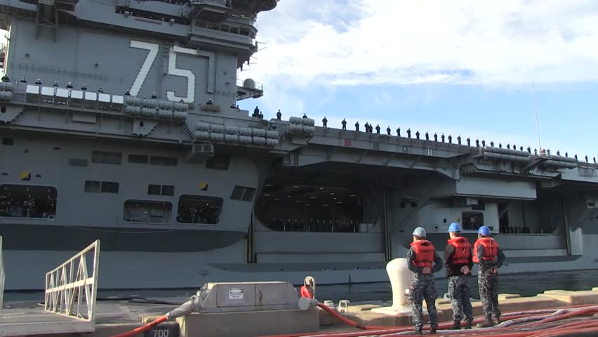 USA Virgina Norfolk, November 2015, Medium Close Up Of Carrier USS Harry Truman Soldiers Formation Deck Ship Drive Out