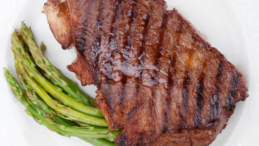 Meat Table Rare Medium Roast Beef Fillet Asparagus Served Plate 1080p 1920x1080 Intro Motion Slow