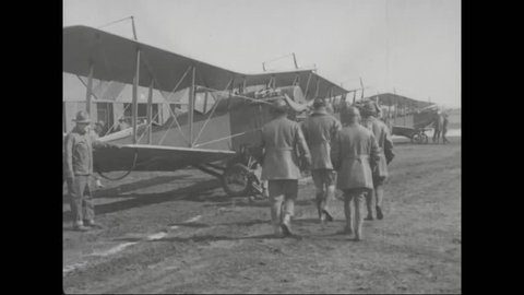 CIRCA 2010s - Troops prepare for World War one and train in aviation.