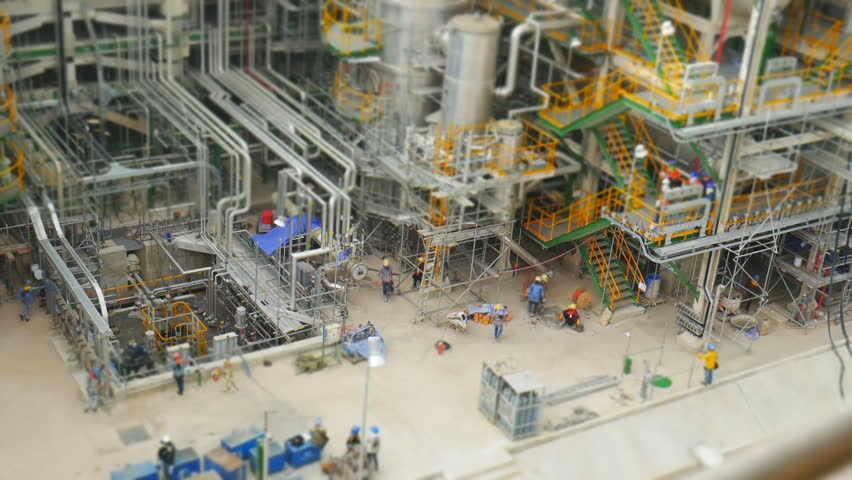 Industrial petroleum and refinery plant in construction phase ,Time lapse and tilt shift style