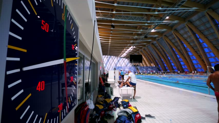 Elegant KAZAN, RUSSIA   27 JULY 2015: Athletes Swimmers Live Training, View Of A  Sports Stopwatch. 16th FINA World Championships, Swimming Pool Of Aquatics  Palace .
