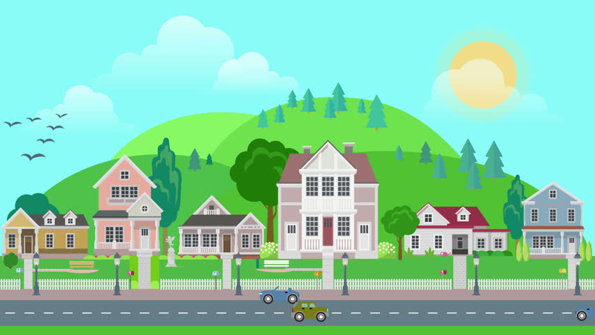 Animated Green Buildings : Flat cartoon city town suburb day with mountains on
