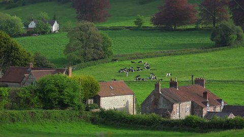 UNITED KINGDOM - CIRCA 2015 - Very quaint cottages make up a rural village in England, Ireland, Wales or Scotland.