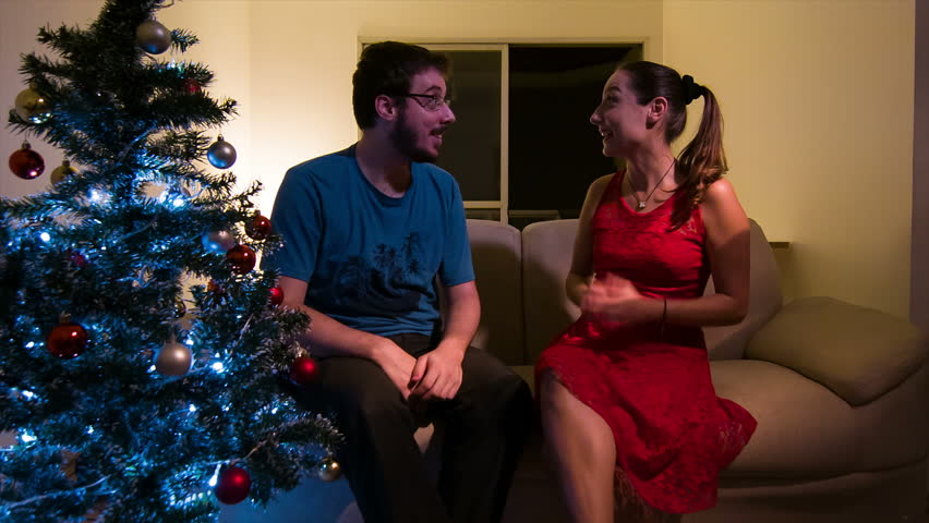 Couple presents on Christmas eve in São Paulo | Shutterstock HD Video #13077551