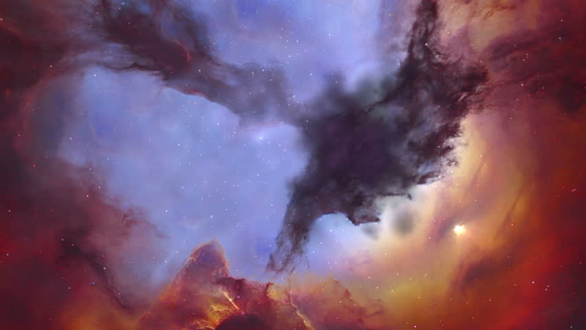 The viewer zooms through a portion of the Trifid nebula in space.  Clouds of dark  gas and dust fly past in three dimensions.  Original image used with permission from NASA's Hubble site.