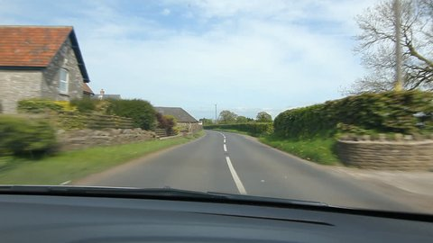 Driving in rural Somerset, UK. Approaching the village of Old Down. Driving north on the B3139 or Bath Rd.