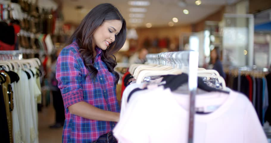 592a4ee4fca54 Young Beautiful Girl Doing Shopping Stock Footage Video (100 ...