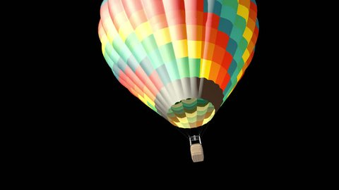 Alpha channel animation of hot air balloon in the blue sky