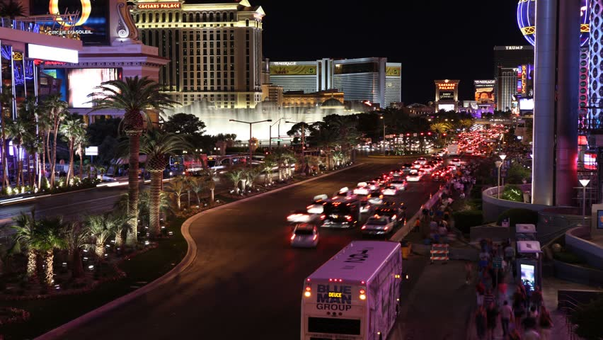 LAS VEGAS, NEVADA - AUGUST 15:  (Time lapse View) Vehicle traffic on the Las Vegas strip, August 15, 2011 in Las Vegas, Nevada.