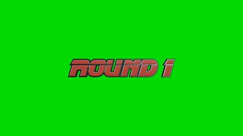 Fighting Video Game Style Round 1 and Continue Text on a Green Screen Background