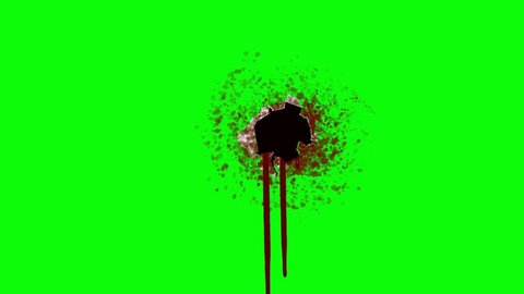 Bleeding Bullet Hole on a Green Screen Background