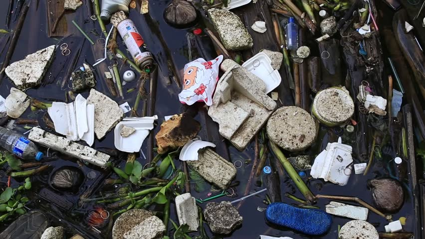 BANGKOK, THAILAND - JANUARY 21, 2015 : View of water pollution in Klong Prem river parallel with Rama 5 road in Bangkok, Thailand.