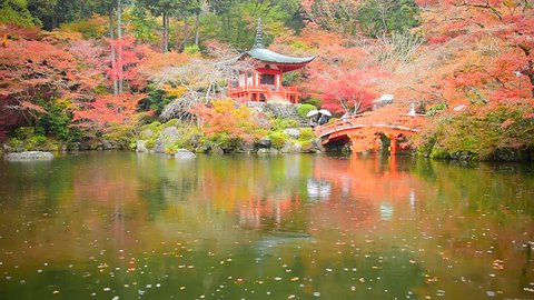 Fall colors and a bridge in the garden at Daigoji (or Daigo-ji), a Buddhist temple in Kyoto, Japan. It is a UNESCO World Heritage Site and contains many Japanese national treasures.