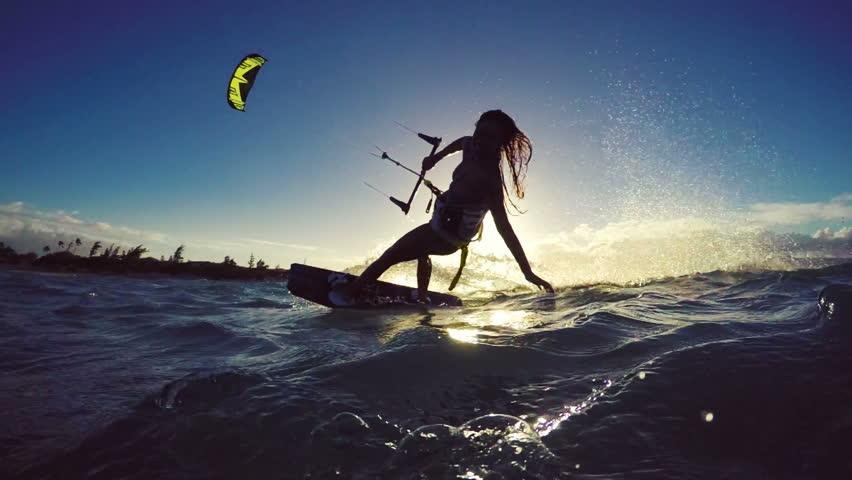 Beautiful Girl Having Fun Summer Extreme Water Sports Kite Surfing in Bikini. Slow Motion. | Shutterstock HD Video #13139501
