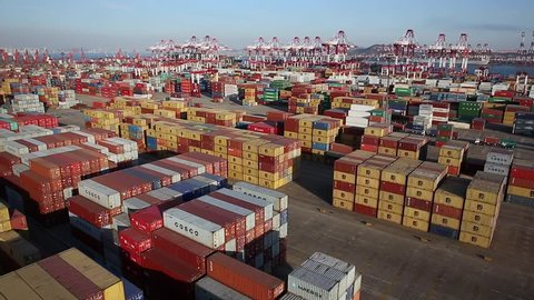 Port of Qingdao, China, June 22, 2015: 2015 1--6 months, Qingdao port container throughput of 8.55 million teu.