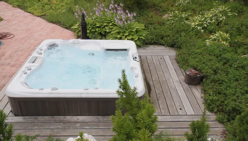 Jacuzzi In The Garden Stock Footage Video 100 Royalty Free