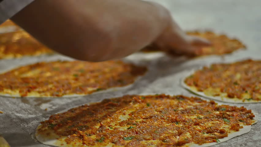 Roll Out turkish pizza called Lahmacun in Turkish