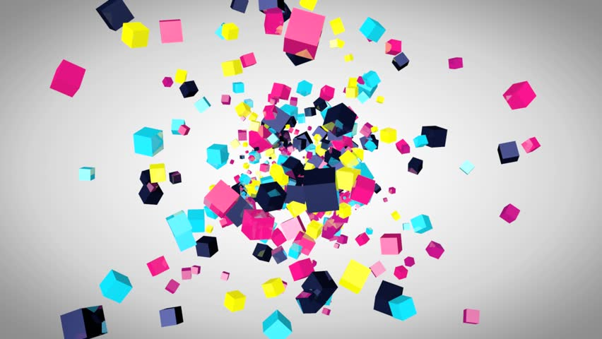 Abstract video animation with colored 3d cubes, flying particles, screen saver with cube design, party design, flying cubes, cubes explosion, rendered animation