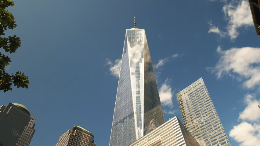 NEW YORK, NEW YORK, USA – SEPTEMBER 15, 2015: low angle wide view of one world trade center in lower manhatten, new york
