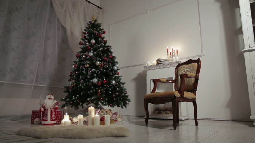 christmas living room hd stock video clip - Classic Christmas Trees