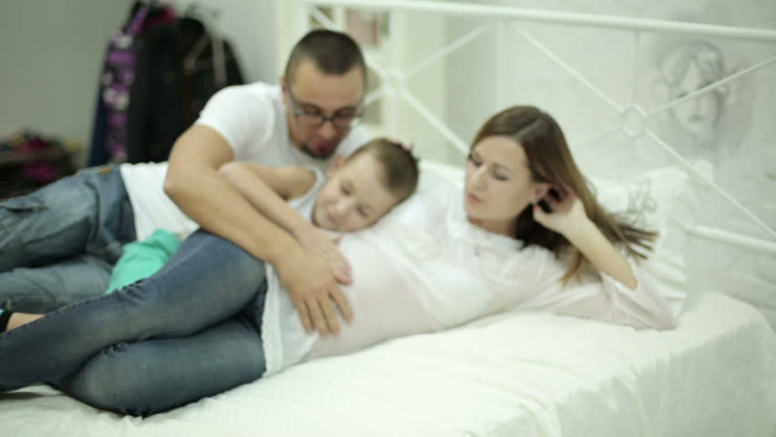 The Husband And Son Stroking Mother Belly Happy Family -8853