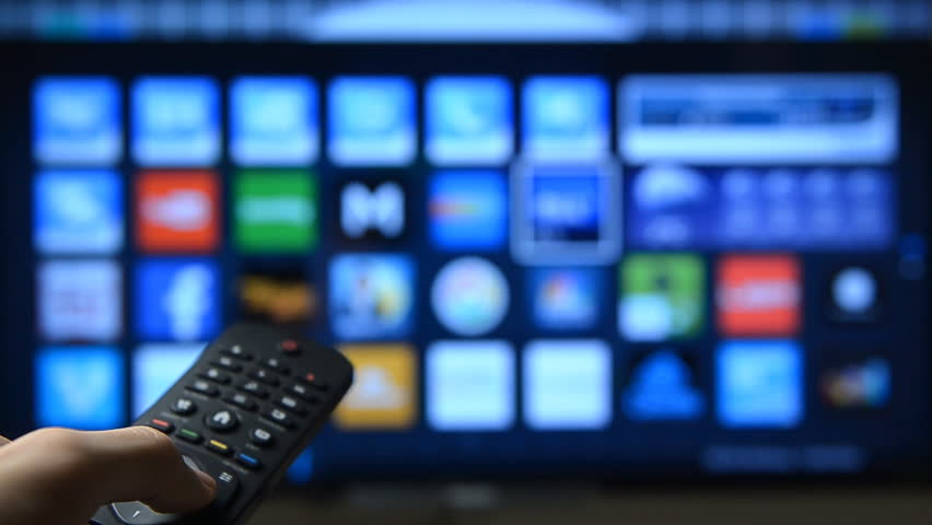 Smart tv with apps and hand. | Shutterstock HD Video #13263626