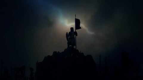 Knight Holding a Flag While Armed Soldiers Cheering him Before Battle Under a Lightning Storm