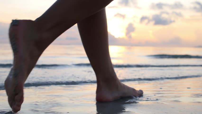 Female Feet Walking Barefoot on Sea Shore at Sunset. Slow Motion. Closeup. HD, 1920x1080.    | Shutterstock HD Video #13308911
