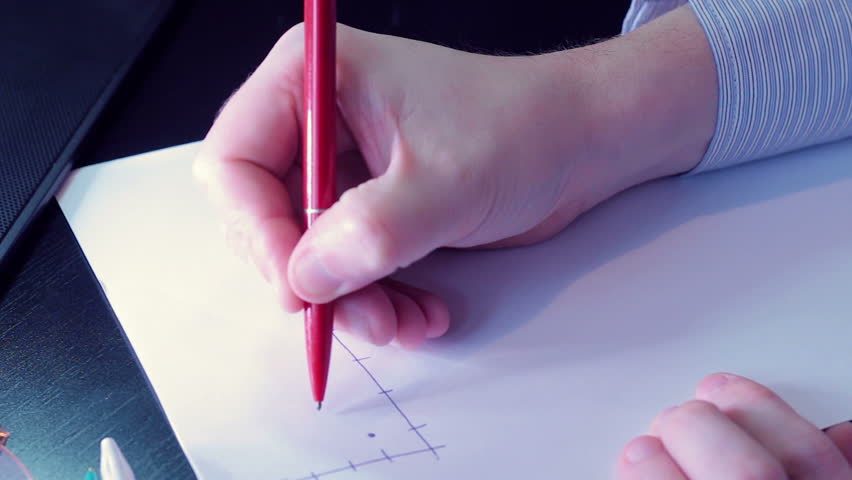 Businessman Male hands writing graphics on white paper | Shutterstock HD Video #13325963