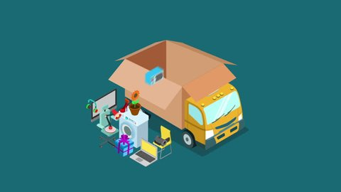 Online internet web shopping home office moving transportation or delivery service video concept. Mover van car lorry delivers electronics goods gift present animated. Flat 3d isometric motion design