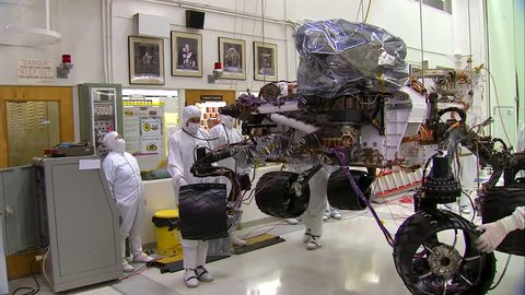 CIRCA 2010s - NASA scientists work in the lab to build and test the Mars Rover.