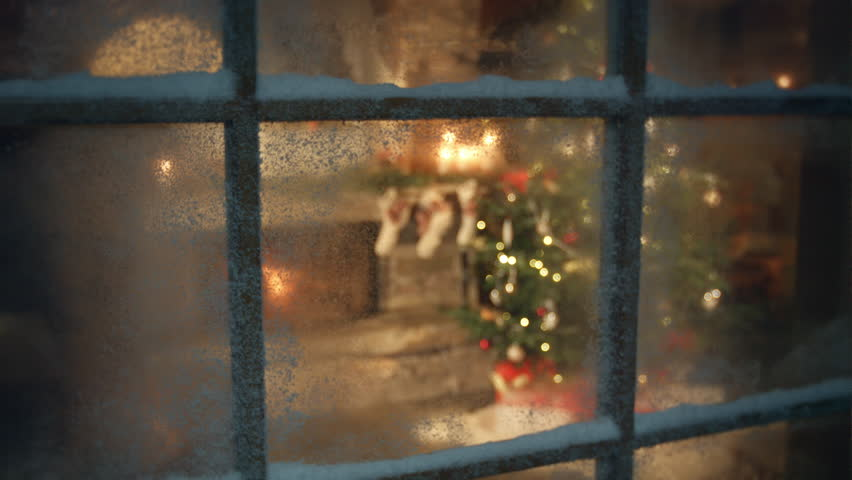 Christmas tree and fireplace scene through frozen window #13386461