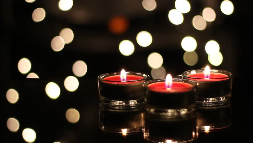 Red Christmas Candles With Bokeh Lights