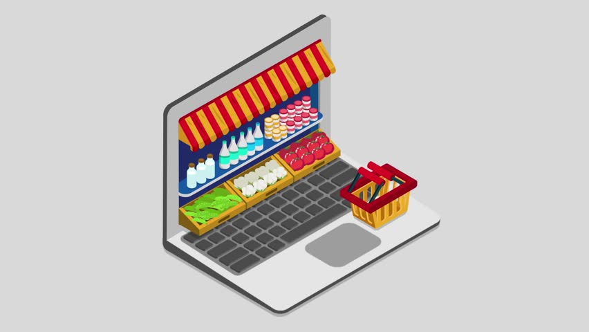 Laptop buy online grocery shopping e-commerce store flat 3d isometric animated concept electronic business sales. Shop cart market showcase product shelving shelf laptop screen reveal animation.