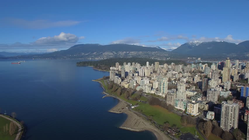Aerial video of downtown Vancouver BC in Canada.