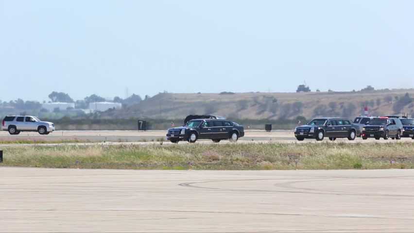 CIRCA 2010s - President Obama\xEAs motorcade arrives at Air Force One.