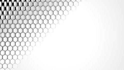 White Hexagon Background Wipe. Diagonal. High-tech 3D animation. 4K Ultra HD. Alpha Luma Matte included.