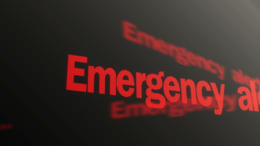 Emergency alert. Please stand by. Warning red text running on laptop display. Cyber crime protection, computer system failure, antivirus message, network security. Authorization error, technology