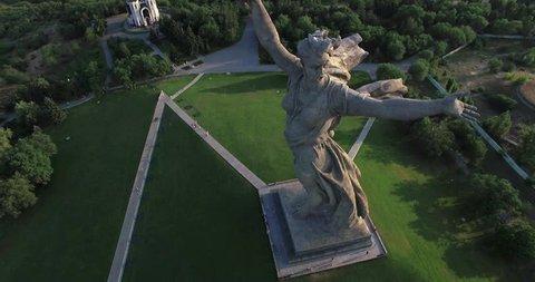 4K Aerial shot of Motherland Statue in Mamaev Kurgan. Stalingrad / Volgograd.