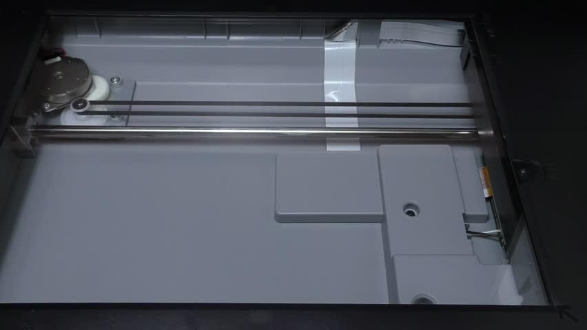 Scanning white sheet of paper work scanner engine sound drive light