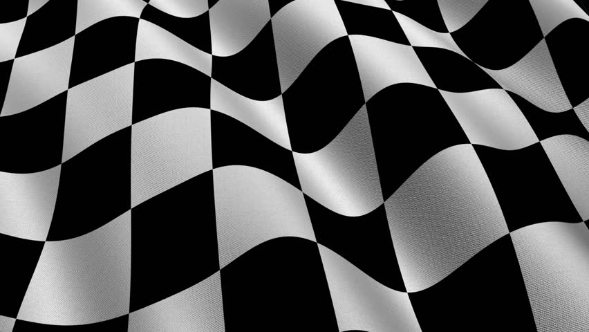 Highly detailed checkered racing flag with fabric texture waving in the wind - perfect background animation for automotive related projects - seamless looping